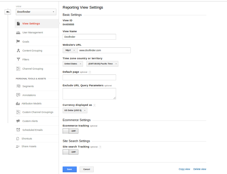 View Settings Page