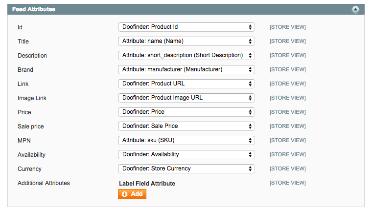 Feed Attributes Options