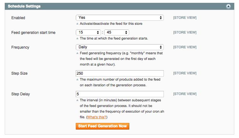 Feed Schedule Settings