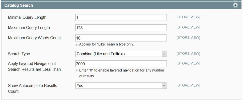 configuration magento search