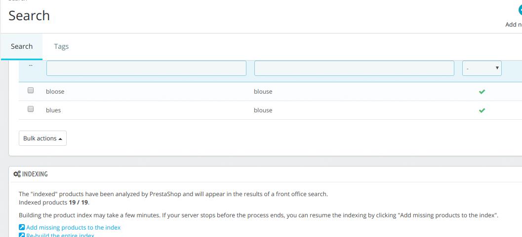 error search page prestashop