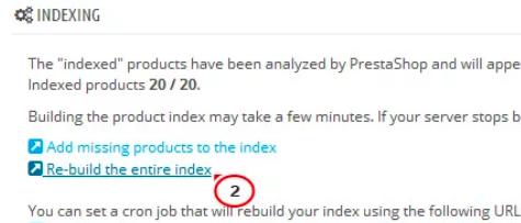 prestashop indexing