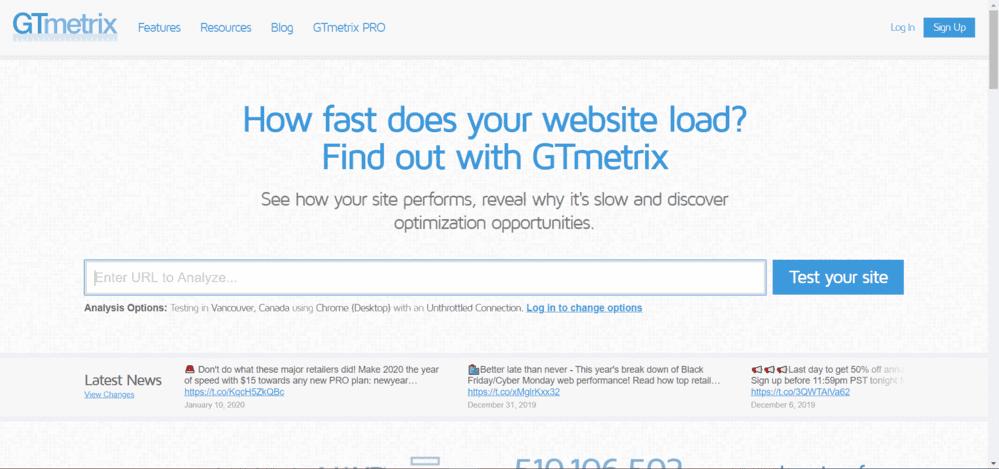 velocidad de una pagina web